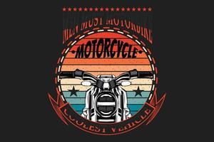 T-shirt typography motorbike silhouette retro style vector