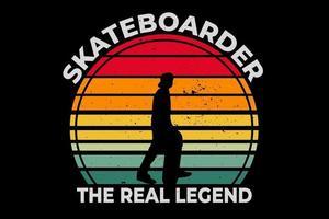 camiseta silueta skater leyenda estilo retro vector