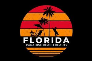 T-shirt beach florida paradise beautiful retro style vector