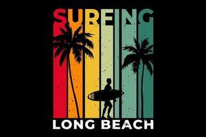 T-shirt beach surfing long beach retro style vector