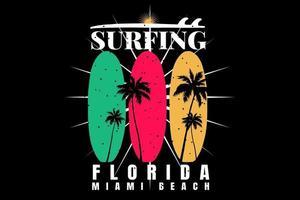 T-shirt suft florida beach sunset retro style vector