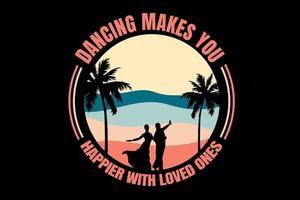 camiseta pareja romántica está bailando en la playa vector