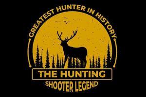 camiseta caza tirador leyenda pino ciervo vintage vector