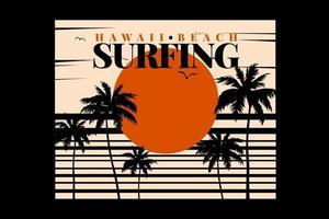camiseta surf hawaii playa puesta de sol vintage vector
