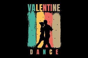 san valentín baile romántico mano drwaing vector