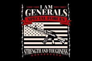 T-shirt weapons flag american special forces vintage vector
