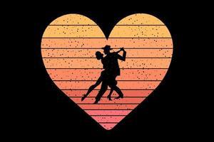 camiseta bailando pareja enamorada color del atardecer vector