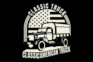 T-shirt silhouette truck classic american flag vintage vector
