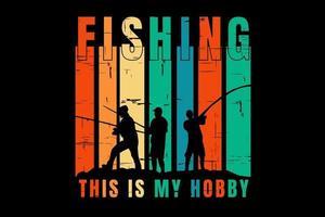 T-shirt silhouette fishing sea retro vintage vector