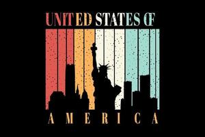 T-shirt statue of Liberty big building title united states of america vector