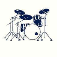 Vector hand drawn illustration of drum kit isolated on white background. Old vintage sketch drawn engraving electronic drum band set. Modern electric digital percussion music instruments concept