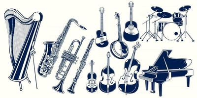 Set collection of musical instruments. Piano, violin, drum set, acoustic guitar, clarinet, trumpet, saxophone, banjo, double bass, harp, cello. Classical jazz instrument vector hand drawn illustration