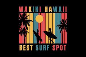 camiseta de surf en la playa mejor lugar de surf de Hawaii vector