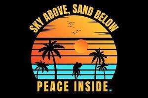 T-shirt silhouette beach romantic couple sunset sky vector
