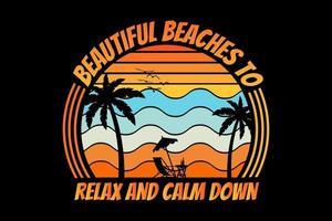 T-shirt silhouette beach summer sunset palm tree vector