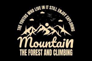 T-shirt typography mountain pine tree beautiful vector