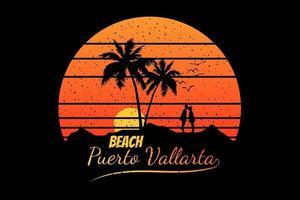 T-shirt silhouette beach couple sunset summer sky tree vector