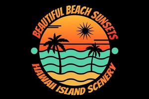 T-shirt silhouette beach hawaii island sunset beautiful sea vector