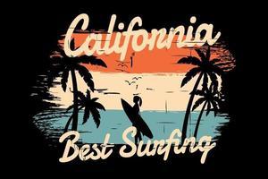 T-shirt silhouette beach summer california surfing retro vintage style vector