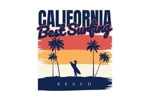 T-shirt silhouette beach surf california summer retro vintage style vector