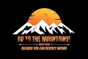 T-shirt silhouette mountain sunset pine tree beautiful nature vector