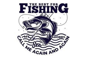 T-shirt fishing rod sea vintage style vector