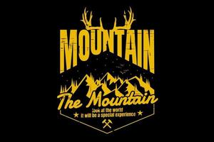 T-shirt typography mountain nature pine nature deer vintage vector