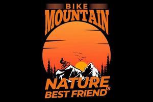 T-shirt mountain bike nature pine tree summer vector