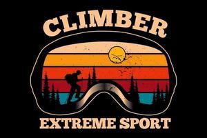 T-shirt climber pine extreme sport retro vector