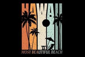T-shirt silhouette beach hawaii retro style beautiful sunshine vector