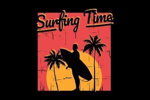T-shirt silhouette beach surfing tree sunset sky beautiful vector