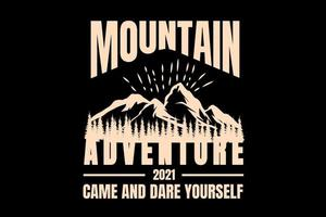 T-shirt silhouette mountain adventure typography pine vector