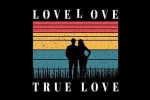 camiseta pareja romántica título amor amor amor verdadero vector