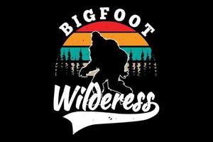 T-shirt silhouette bigfoot pine tree wilderness retro style vector