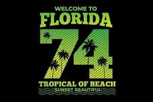 camiseta tipografía florida gradiente playa tropical atardecer vintage vector