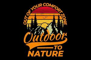 T-shirt retro outdoor forest mountain pine tree nature vintage style vector