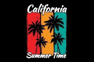 camiseta california verano puesta de sol color retro estilo vintage vector