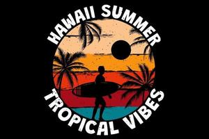 camiseta hawaii verano tropical vibes surf playa palma color retro estilo vintage vector