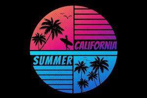 camiseta california horario de verano puesta de sol color degradado color retro estilo vintage vector