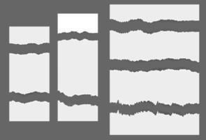 White ripped blank horizontal stripes vector