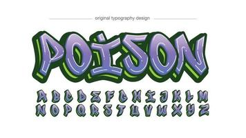 Purple and Green Graffiti Tag Typography vector