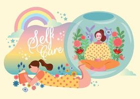 girls relaxing self care concept vector