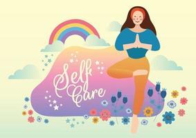 yoga time self care concept vector