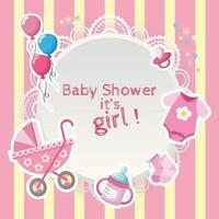 baby girls newborn stuff baby shower for baby shower card vector