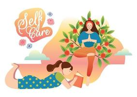 relaxing time self care concept vector