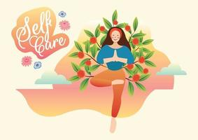 yoga time me time self care concept vector