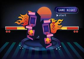 Game night game icon background concept vector