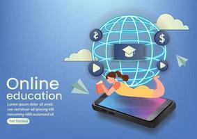 online eaducation online wedsite design concept vector