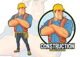 Construction Worker Mascot Design vector