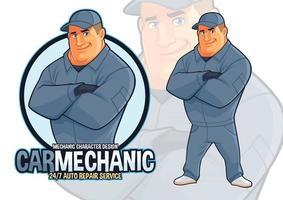 Auto Repair Mechanic Mascot design for Car Maintenance Services vector